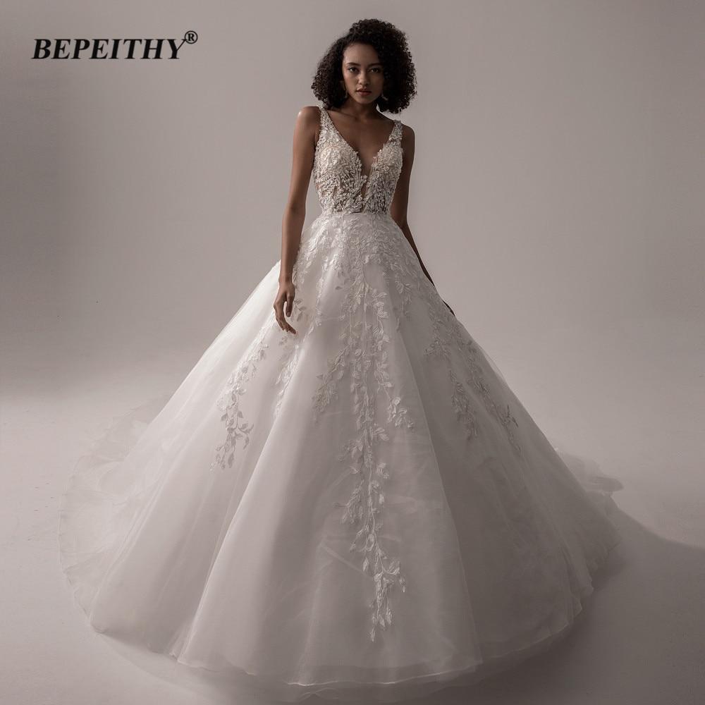 AliExpress - BEPEITHY Vestido De Noiva V Neck Sleeveless Wedding Dresses 2021 For Women Open Back Ball Gown Lace Organza Bridal Gown New
