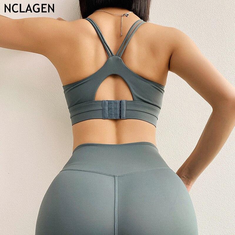 Sujetador deportivo para mujer, parte superior de Yoga, ropa interior deportiva para gimnasio, Push-up, sujetador trasero ajustable al pecho, ropa deportiva Sexy de nailon NCLAGEN