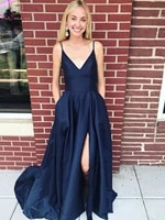 navy blue split formal party long women prom dresses 2020 spaghetti straps v neck satin ladies evening gowns vestido de festa