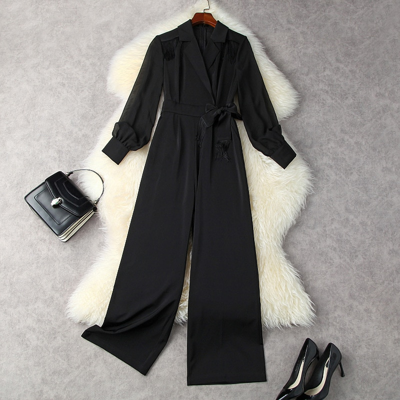 Black Jumpsuits Women Rompers 2021 Fall OL New Notched Collar Tassels Long Sleeve Lace-Up Waist Bow Slim Draped Wide Leg Pants