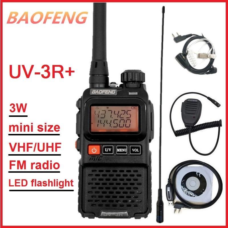 BAOFENG UV-3R PLUS-Radio portátil CB, Comunicador de largo alcance, Walkie Talkie UHF VHF Ham Mini, Radio transmisor UV 3R + antena