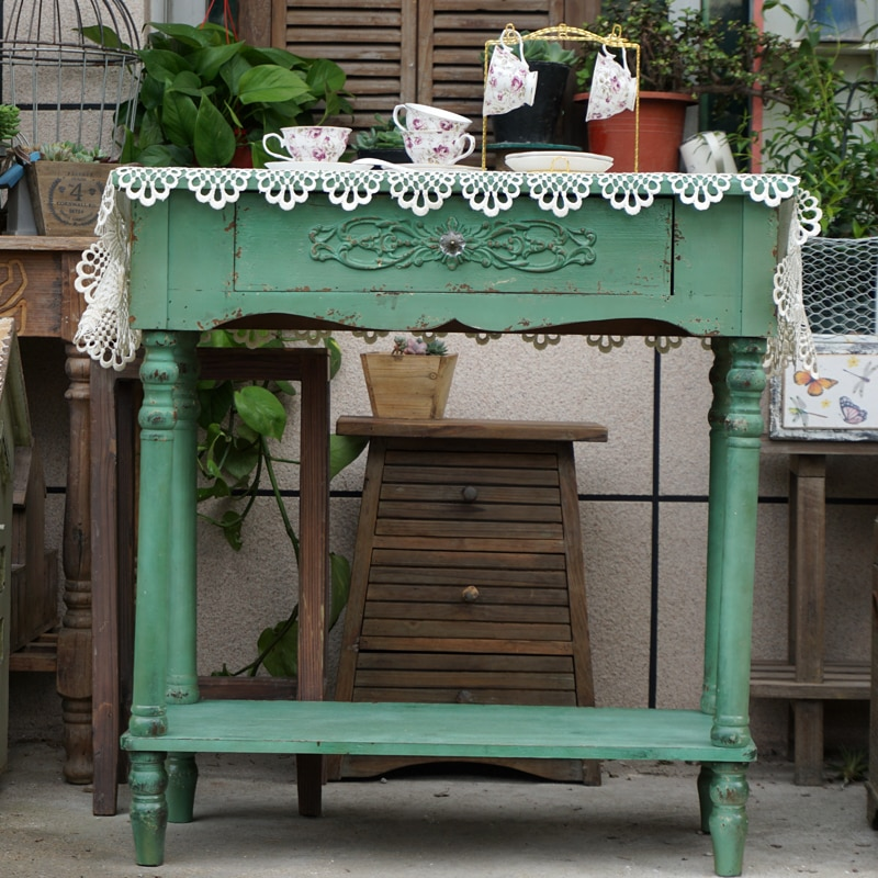 جميلة اليدوية صغيرة رث شيك خمر الصلبة خشبية طاولة وحدة مع درج واحد