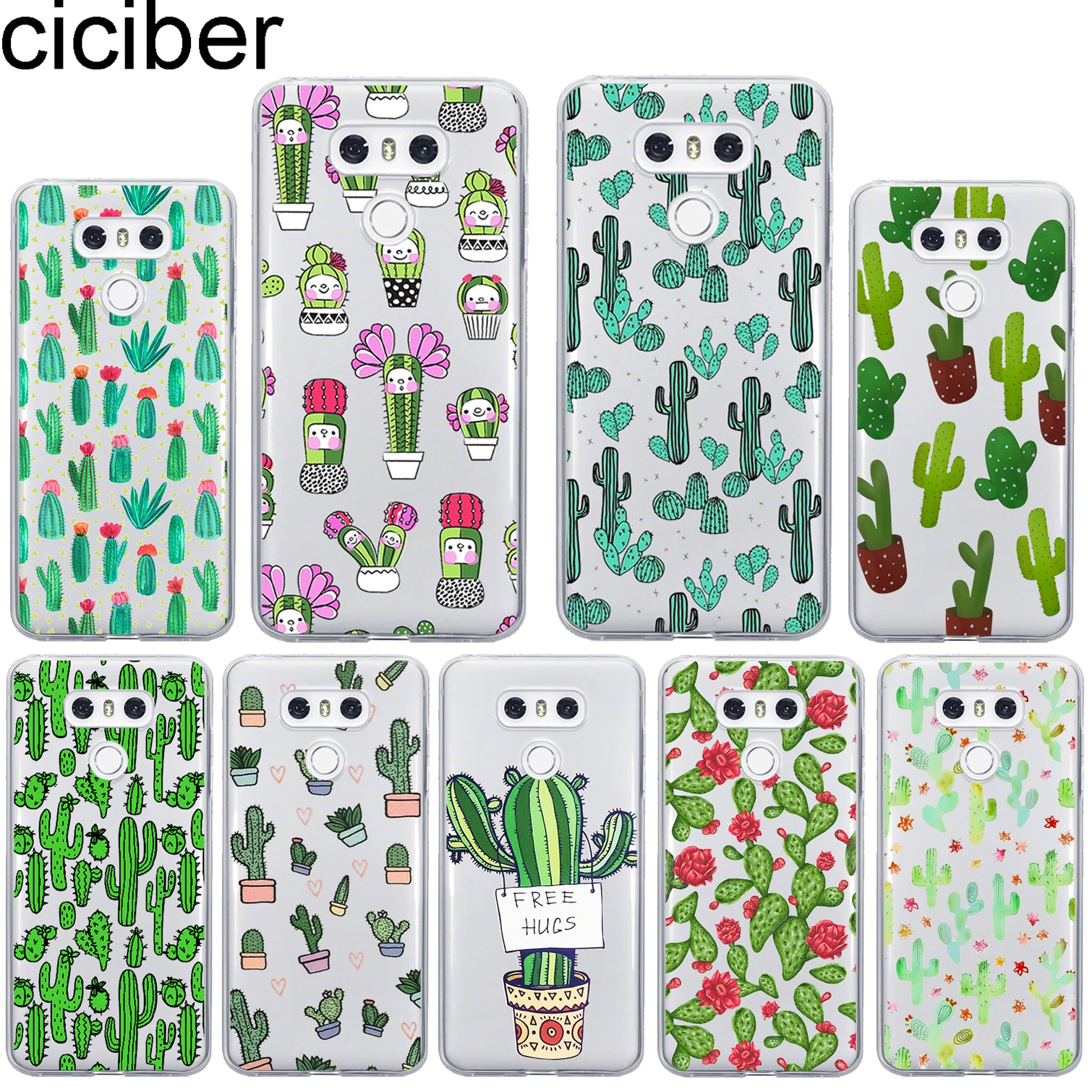 ciciber For LG G7 G6 V40 V35 V30 V20 THINQ Soft Silicone TPU Phone Cute Cactus Case For LG K8 K10 K4 2017 2018 K9 K11 Plus Case