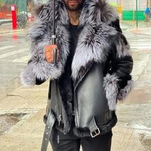 Mens Leather Jacket 2021 Autumn Winter New Fashion Temperament Casual Plus Velvet Thicken Fur Collar