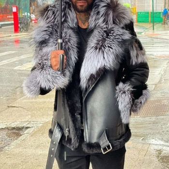 Mens Leather Jacket 2021 Autumn Winter New Fashion Temperament Casual Plus Velvet Thicken Fur Collar Long Sleeve PU Mens Jacket