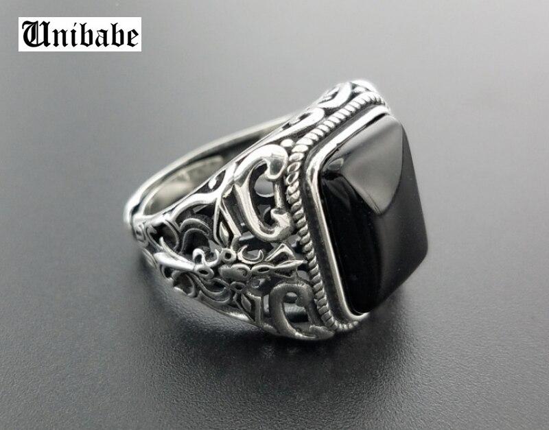Anillo de plata auténtica 925 granate negro S925 para hombre, anillo abierto a la moda de plata esterlina, joyería tailandesa de plata