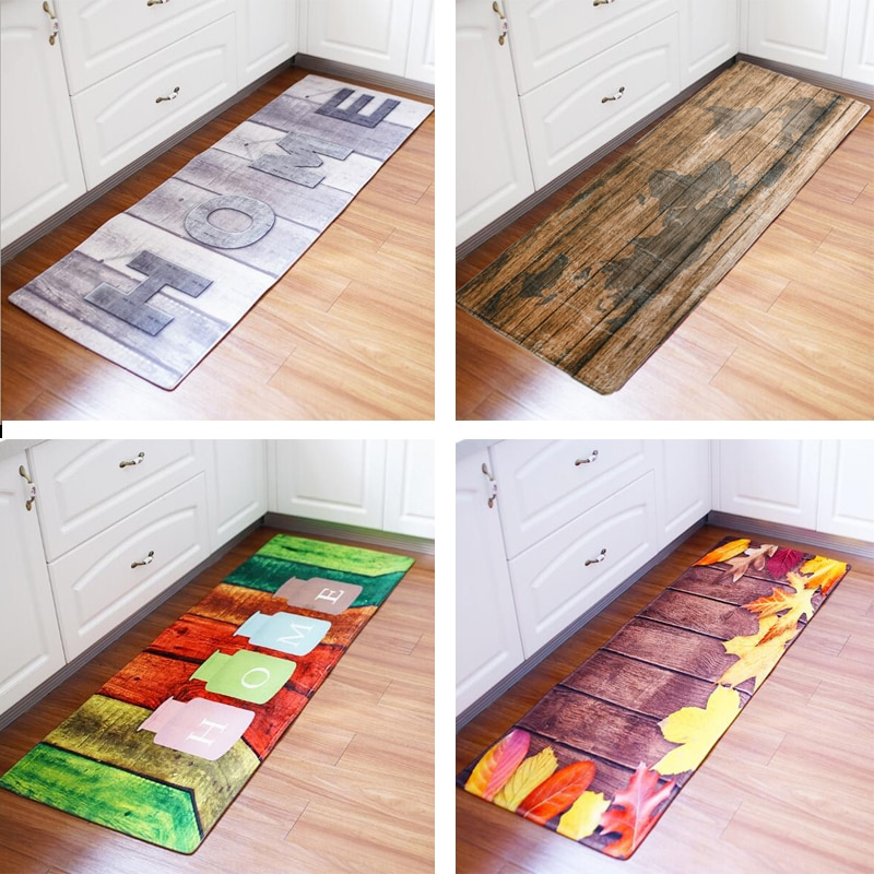 60x180CM Kitchen Rug Antiskid Mat for Kitchen Floor Long Door Mat Vintage Style Kitchen Rug Non-Slip Bedroom Bedside Mats