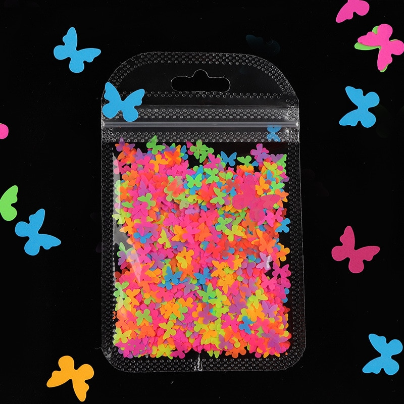 Fluorescence Butterfly Shape Nail Art Glitter Flakes 3D Neon Sequins Polish Manicure Nail Decoration 1Bag Colourful Nail Sequins