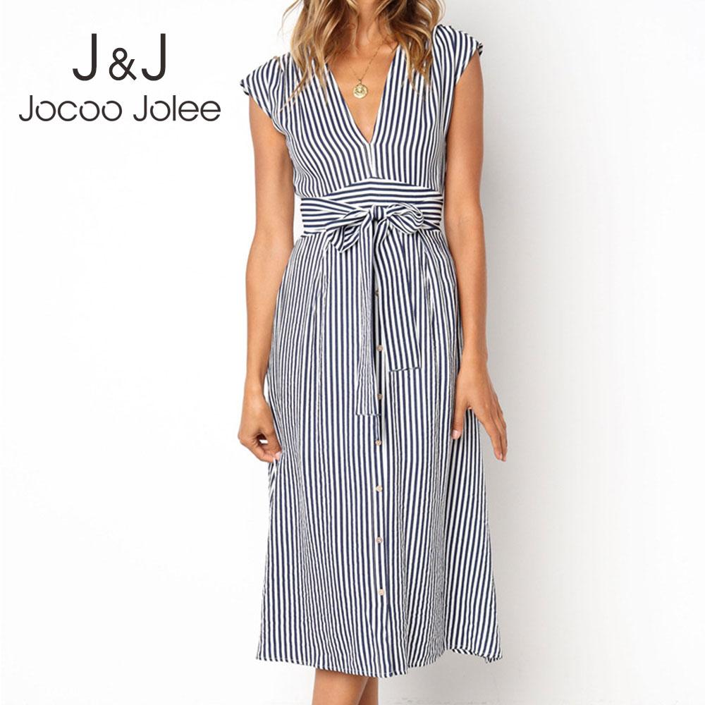 Jocoo Jolee Summer Short Sleeve V Neck Striped A Line Dress Casual Sashes Midi Dress Elegant Long Beach Dress Streetwear