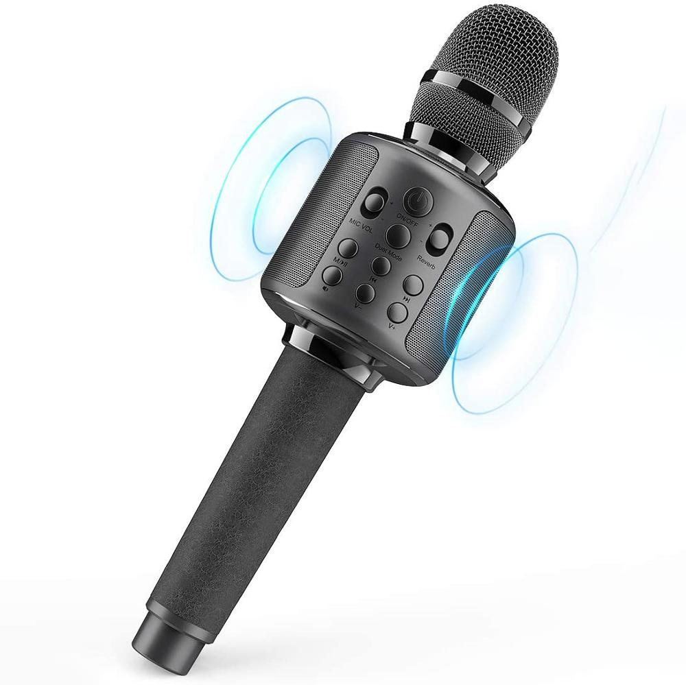 ميكروفون لاسلكي الغناء آلة مع سمّاعات بلوتوث ل هاتف محمول/جهاز كمبيوتر ، محمول باليد ميكروفون مكبر الصوت