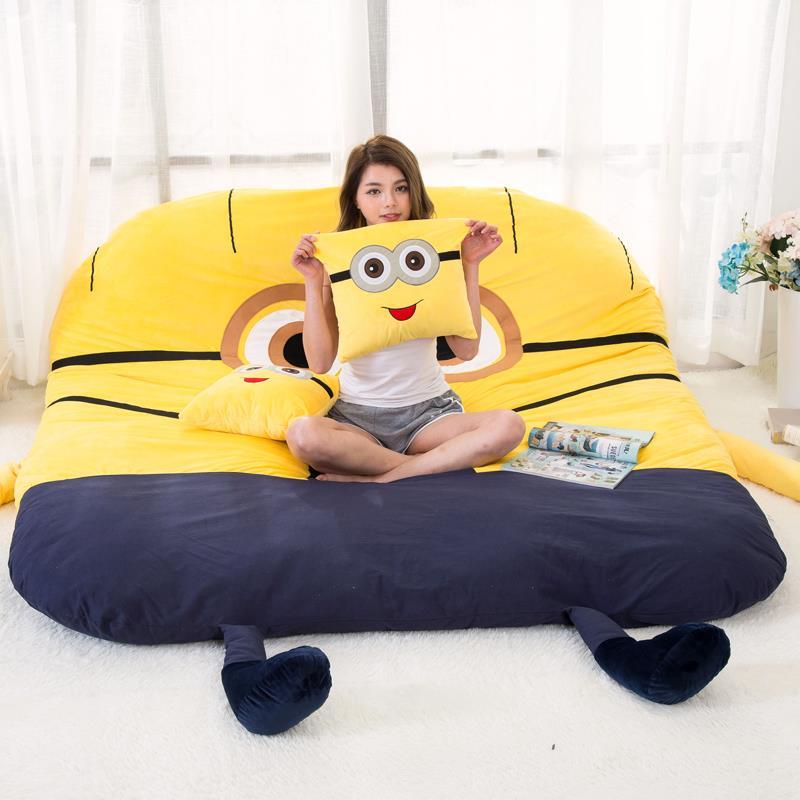كيس فول مقاوم للرطوبة الحصير حصير الكرتون لطيف سرير مزدوج الإبداعية نوم وسادة الأطفال السرير محشوة لينة أريكة سرير