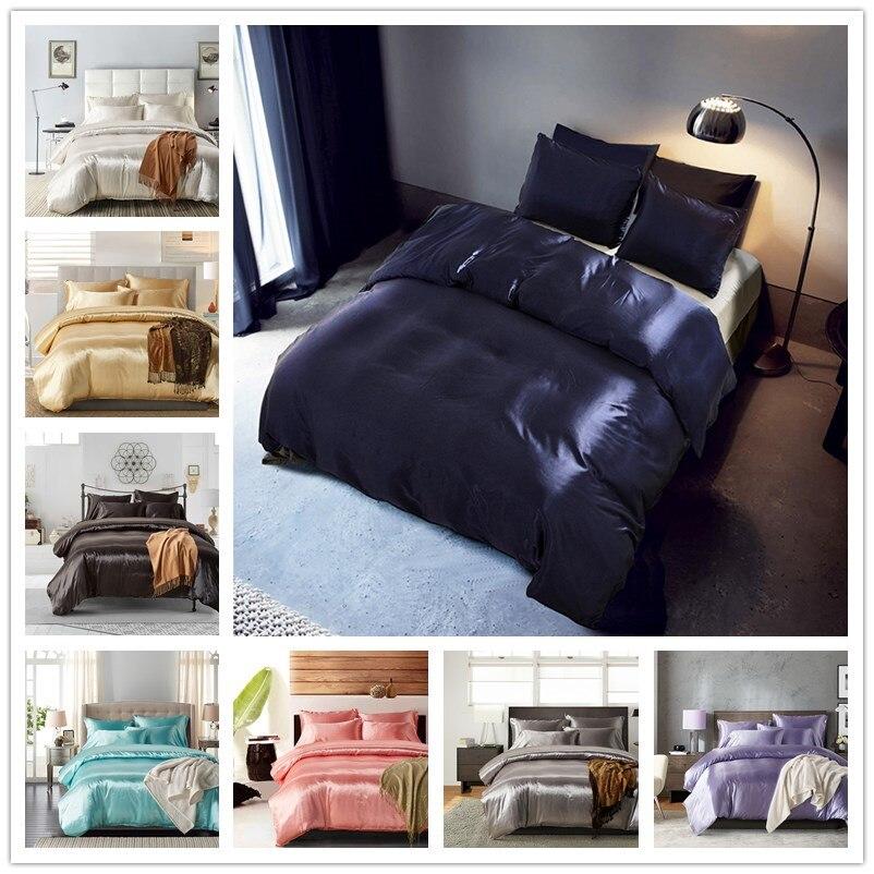 100% Silk Bedding Set Duvet Cover+ Pillowcase Home Textile Adult Children Gift Queen King Size comforter bedding sets
