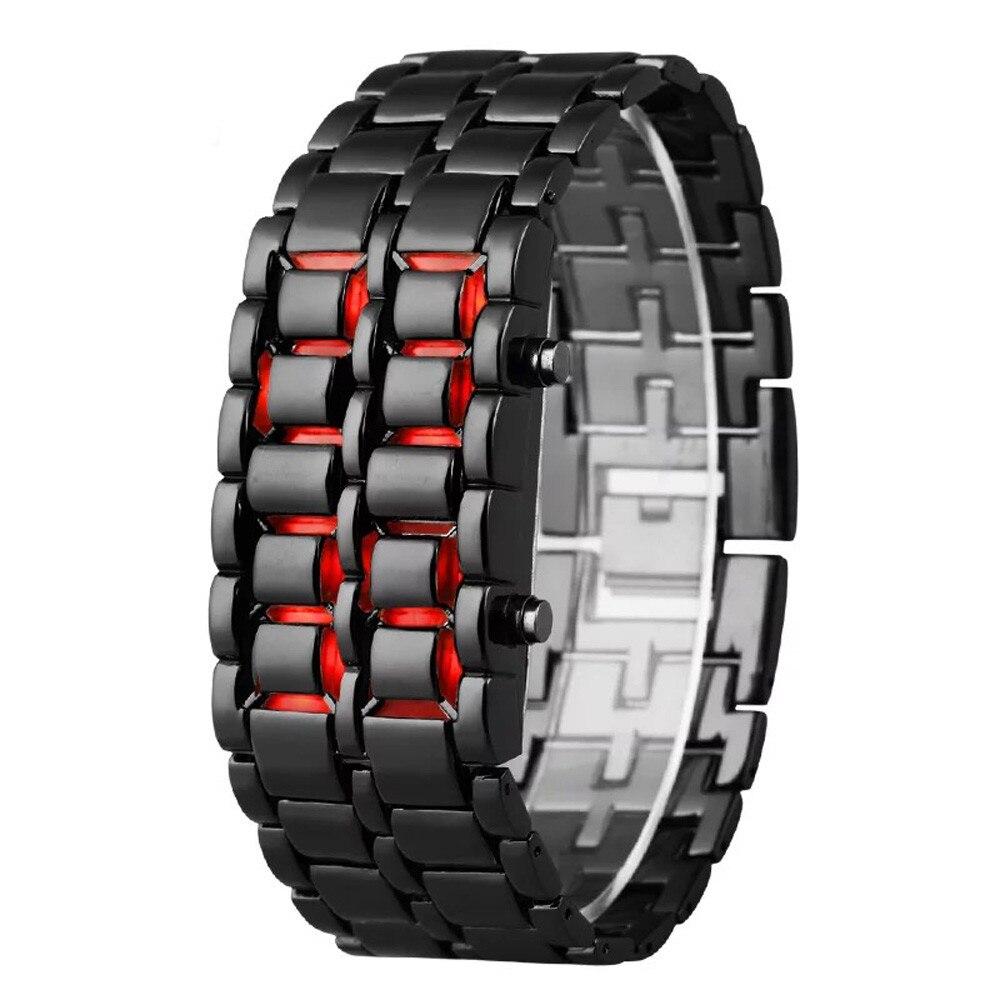Mode hommes montre hommes montres plein métal numérique montre-bracelet rouge led samouraï pour hommes garçon Sport Simple montres relogio masculino
