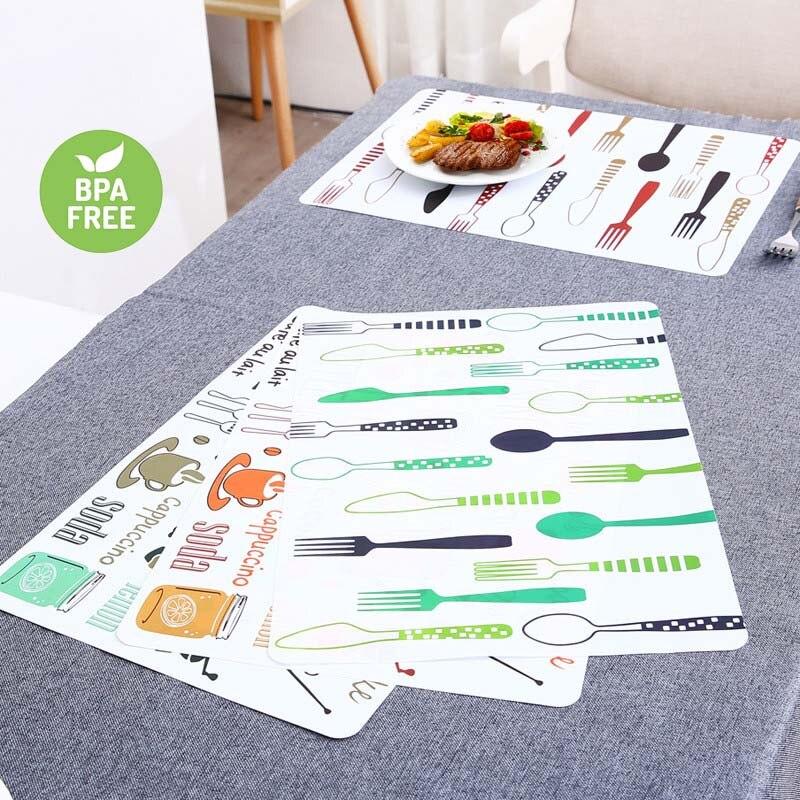 2 uds manteles estera de mesa de PVC niños vajilla de dibujos...