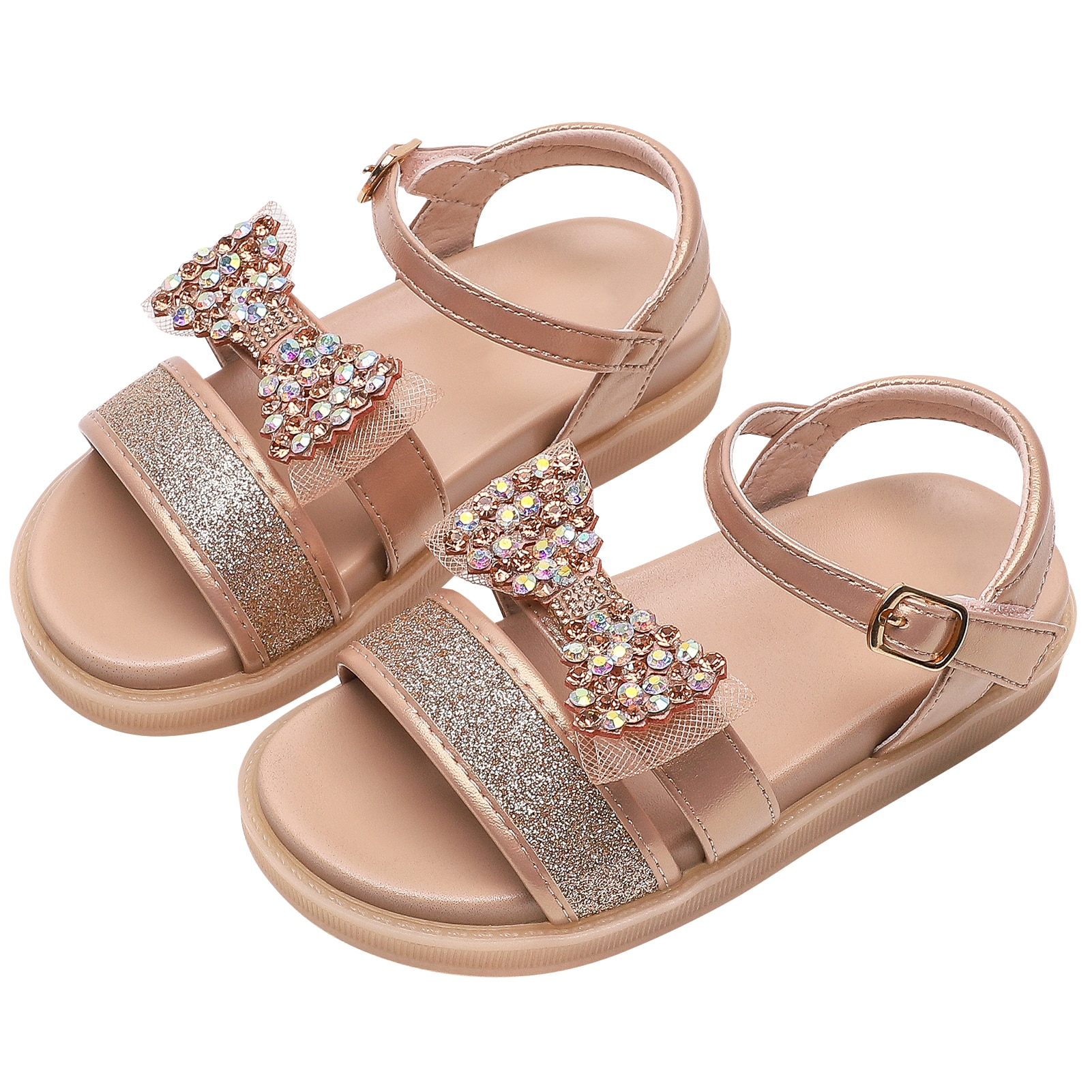 Girl's Sandal Rhinestone Bowtie Girl Microfiber Leather Shoes Kids Open-Toed Princess Sandals Breathable Summer Daily Party