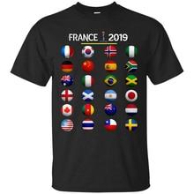 France 2019 Football Soccer Championship All 24 Teams Black T-Shirt Size S-3Xl Outdoor Wear Tee Shirt