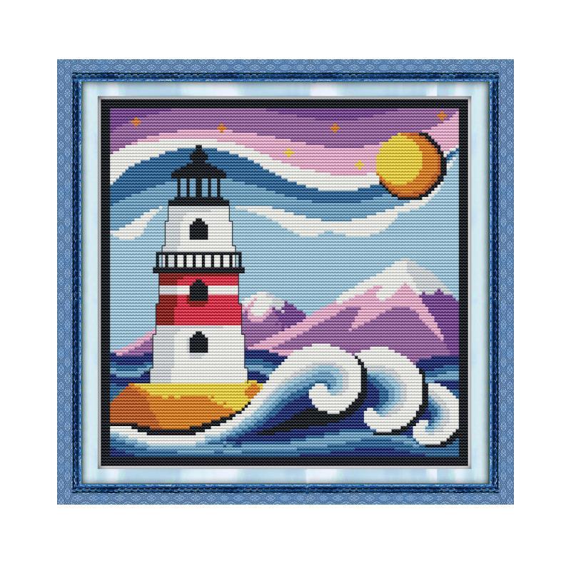 Recién llegado Joy Sunday faro 6 patrón de dibujos animados punto de cruz Kits 11 14 ct DMC bordado juegos de costura Chinase arte Hecho A Mano