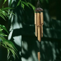 46/60cm Bamboo Wind Chimes Coconut Pendant Handwork Fair Trade Wind Chime Outdoor by Gifts Long Garden Hanging Decoration