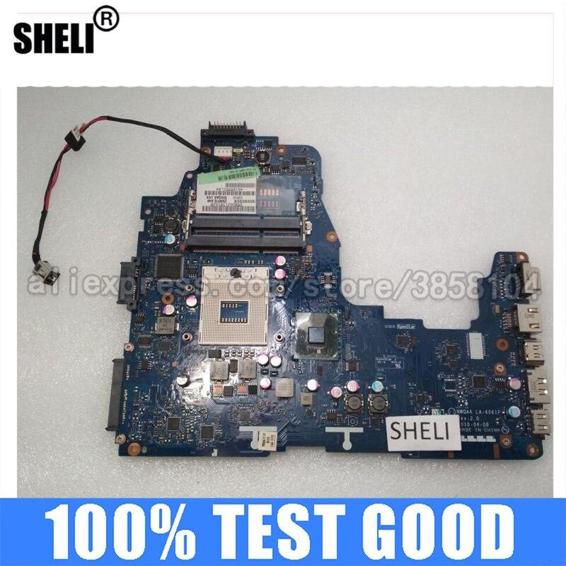 SHELI لتوشيبا A660 A665 اللوحة K000104250 LA-6061P DDR3 جناح إنتل المتكاملة