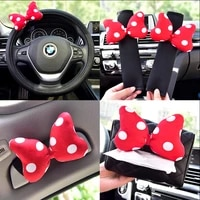 car mounted ice silk head pillow waist support bowknot steering wheel cover seatbelt covers tissue box storage for girls women