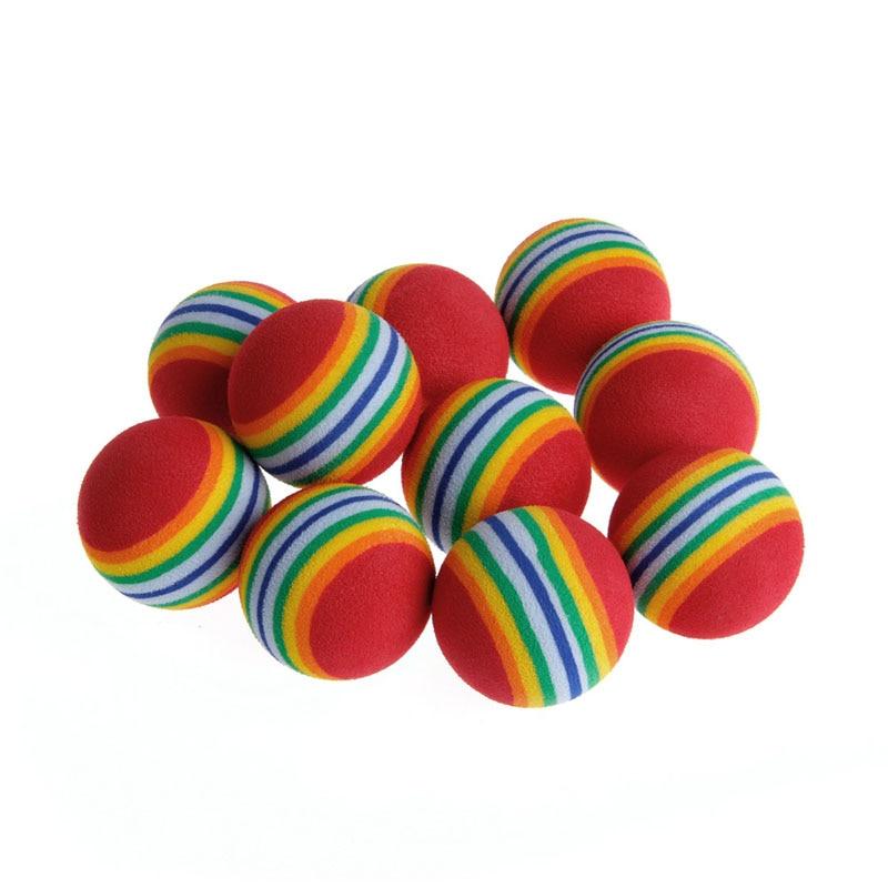 Juguete divertido interactivo para perros de entrenamiento con bolas de espuma arcoíris de colores de 10 Uds.