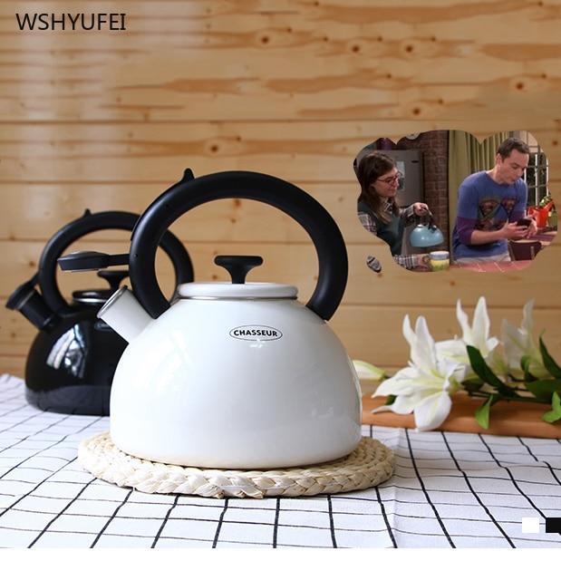 Enamel kettle whistle pot called pot cooler induction cooker universal household wooden handle coffee milk tea hip flask