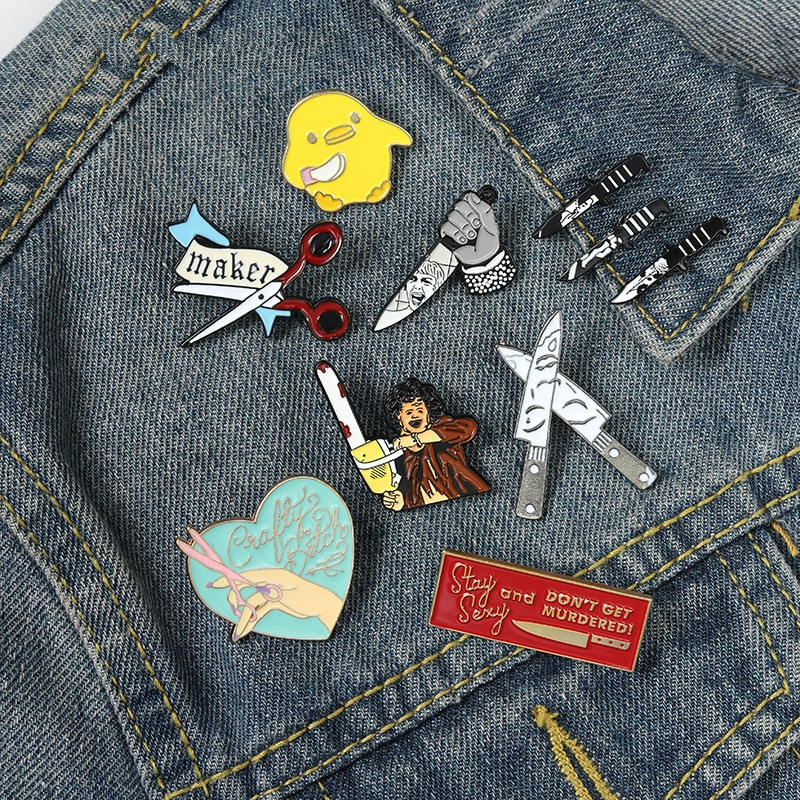Murderer Horror Movie Enamel Pins Sharp Weapon Brooches Badges Backpacks Pins Gifts for Friends