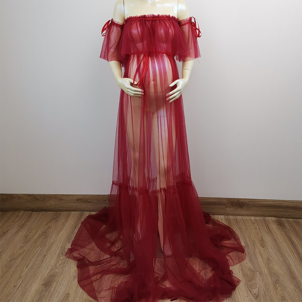 Don&Judy Hot Sale See Through Women Dress Off Shoulder Long Tulle Ruffles Pregnant Photo Shoot Dresses  Sheer Party Gown enlarge