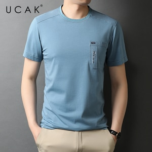 UCAK Brand Classic O-Neck Solid Color Button Short Sleeve T-Shirts Summer New Streetwear Tops Casual Cotton T Shirt Homme U5558