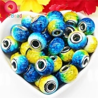 10pcslot new gold yellow color murano glass beads fit original bracelet pendant silver plated colorful charm diy jewelry making