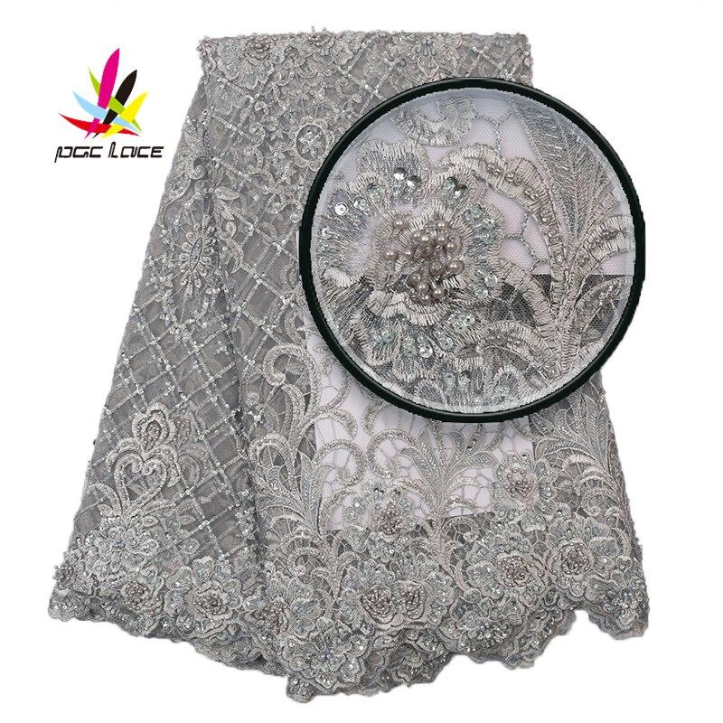 Feitas à Mão Tecidos de Renda Materiais do Laço para Nupcial Tissu Rendas Nigeriano Luxo Contas Cinza Prata Africano Tecido Renda Frisada Xz2896b