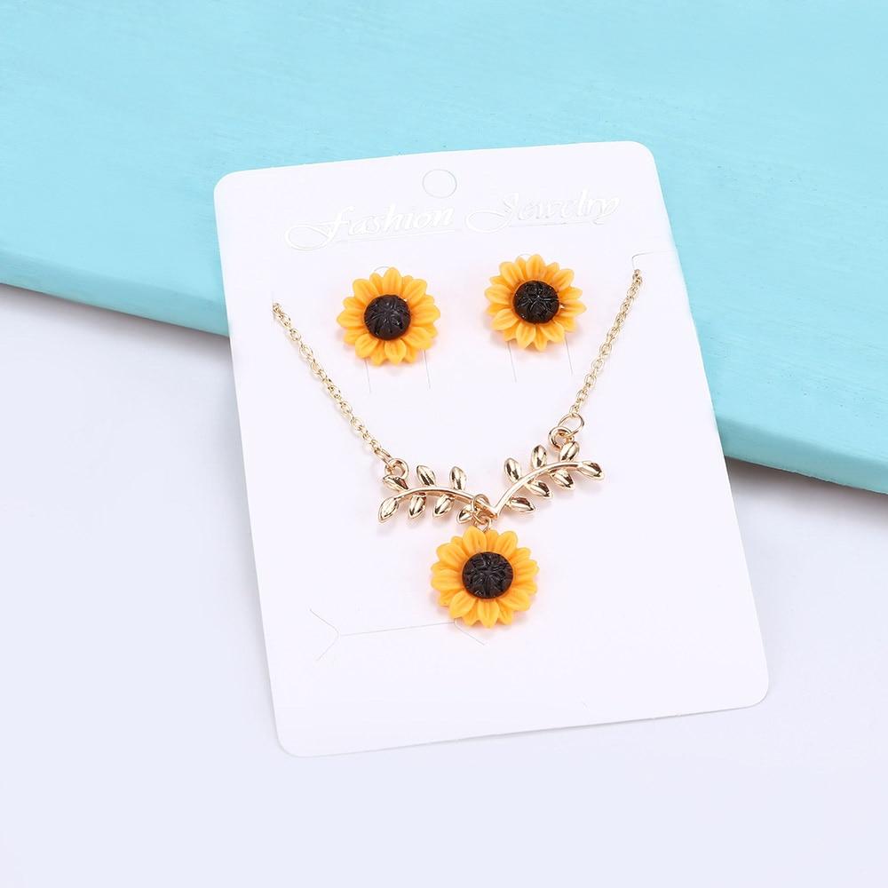 Trendy Sunflower Earrings Necklace Set For Girls Women Sunflower Jewelry Sets