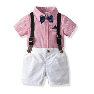 Kids Boys Blazers Suit New British Summer Blouse Overalls Bow Tie Dress Suit Baby Grab Week Suit Gentlemen's Suits for Weddings