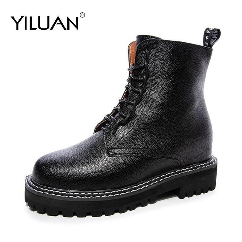 ¡Novedad de otoño-invierno 2020! botas cortas Punk Yiluan de piel auténtica con cordones y tacón alto, botines informales para mujer