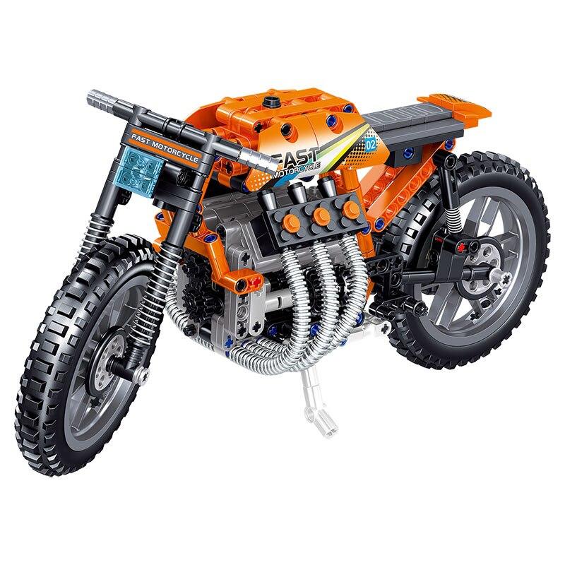 411 peça tijolos conjunto da motocicleta autociclo técnica modelo de carro blocos de construção meninos presente aniversário crianças brinquedos para crianças