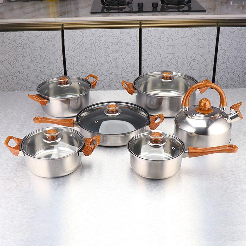 12 قطعة طقم أواني للطهي أوانٍ من الستانليس ستيل وغطاء مجموعة مع مقبض من الخشب الحبوب غلاية التعريفي طقم قلايات المطبخ HWC