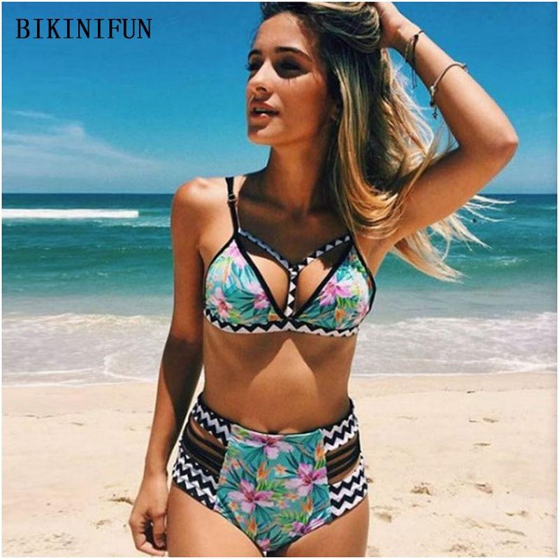 New Lotus Print Bikini Women Swimsuit Strappy Bandage Bathing Suit S-2XL High Waist Swimwear Girl Beachwear Summer Bodysuit