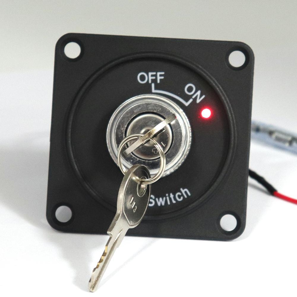 Interruptor de encendido DC 12V 10A indicador de encendido Rojo 2 posiciones interruptor de encendido/apagado con Panel + 2 teclas