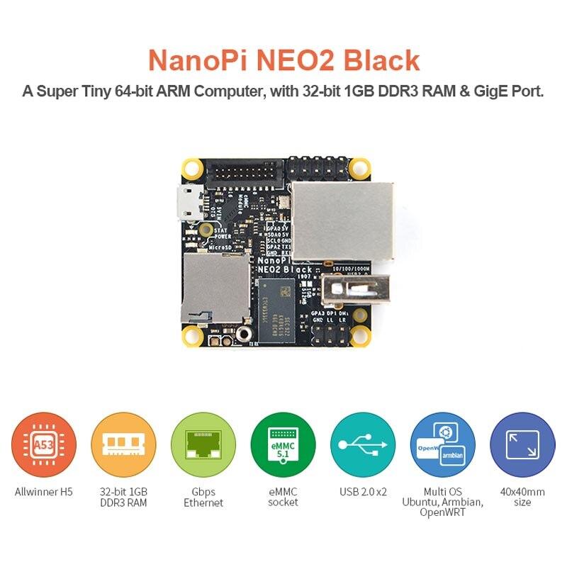 NanoPi NEO2 negro Zhi H5 Placa de desarrollo Quad Core de 64-bit A53 de red Gigabit de Ubuntu con 8GB eMMC módulo con caja de Metal