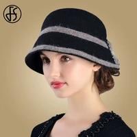 fs wide brim hats for women black wool bow bowler fedora hat chapeau femme feutre winter cloche ladies church felt fedoras caps