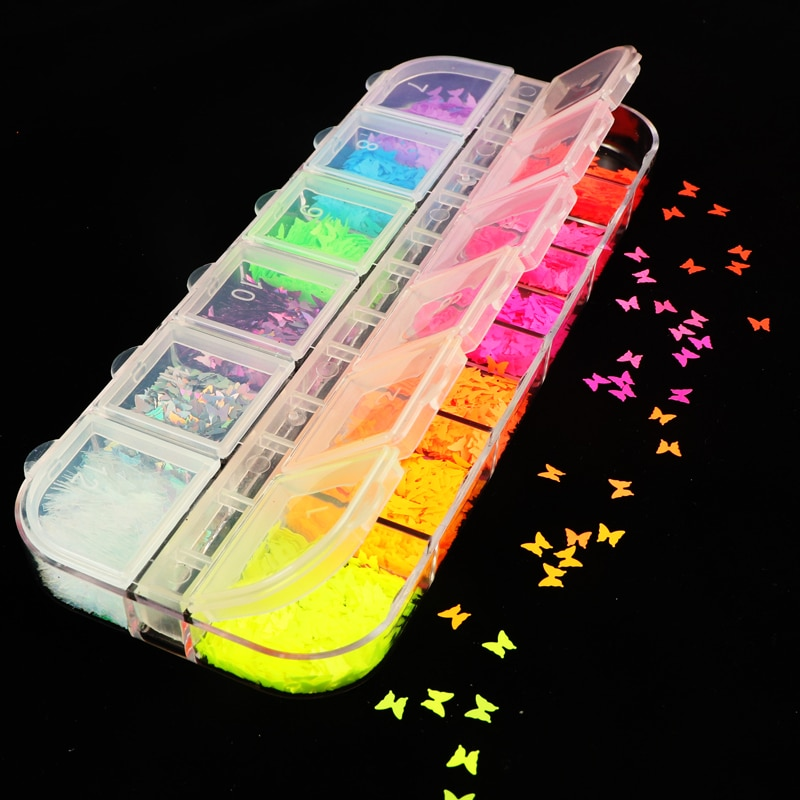 Fluorescence Butterfly Heart Fruits Various Shapes Nail Art Glitter Flakes 3D colourful Sequins Poli