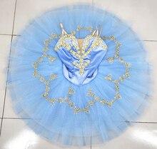 Professional Ballet Tutu Light Blue Gold Adult   Women Shape Performance Ballet Tutu Dress Professional Ballet Stage Costume