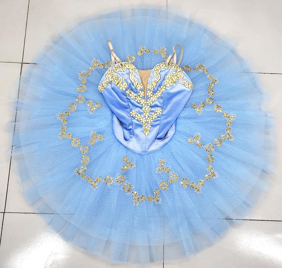 Profissional ballet tutu luz azul ouro adulto mulher forma desempenho ballet tutu vestido profissional ballet palco traje
