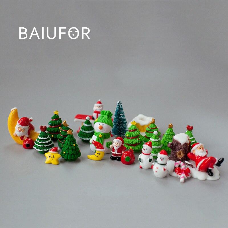 BAIUFOR миниатюрная Рождественская елка Санта Клаус Снеговик Подарочная коробка Террариум аксессуары сказочные садовые фигурки кукольный до...