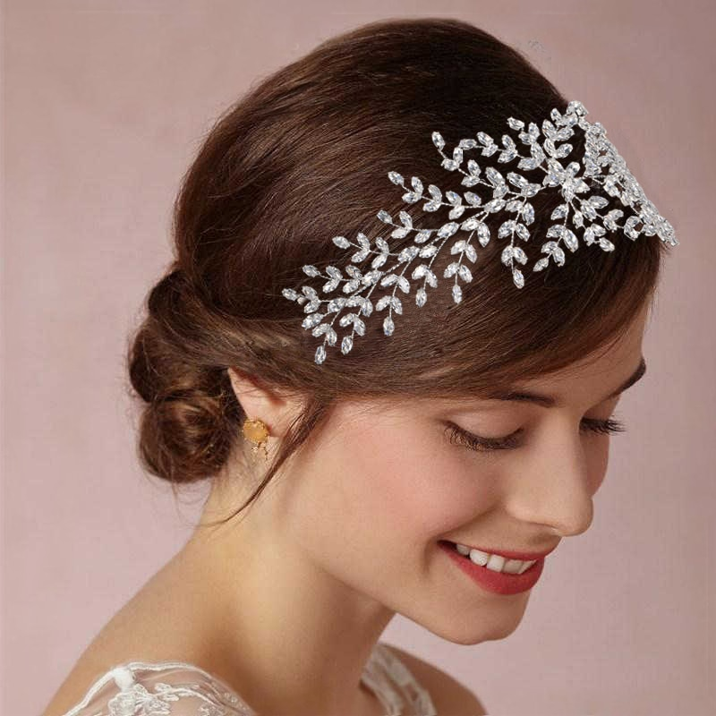 Hadiyana-تاج زفاف نسائي من الزركونيا ، تاج زفاف عصري ، إكسسوارات شعر ، مجوهرات ، خوذة ناعمة فاخرة BC4702