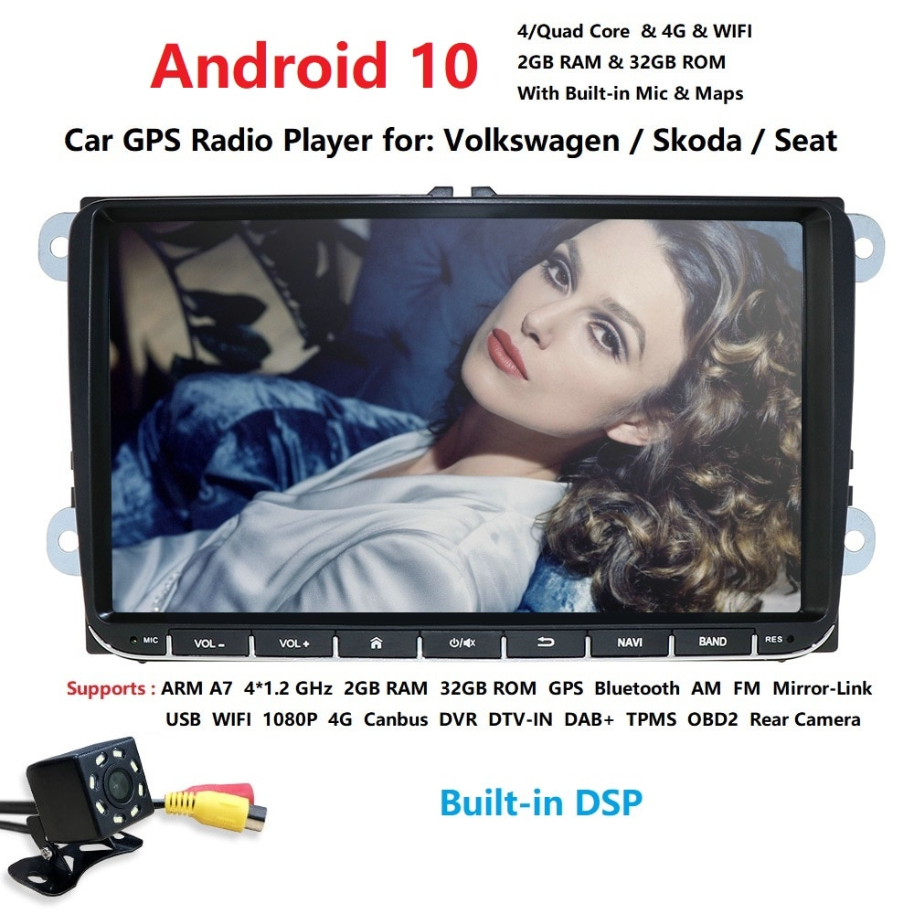 2din 9 дюймов 2 грамм Android 10 автомобильное радио GPS навигация для V W passat b6 golf 5 polo j etta четырехъядерный автомобильный NO-DVD плеер с CANBUS