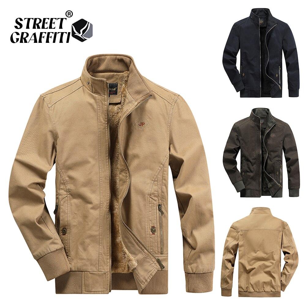 2021 Autumn Men Jackets 100% Cotton Chaqueta Casual Solid Fashion Vintage Warm Vestes Coats High Quality M-5XL Winter Jacket Men