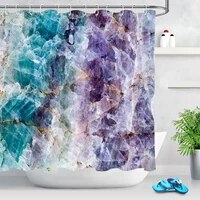 natural crystal mineral rock colorful marble shower curtains bathroom curtain fabric waterproof polyester bathtub bath curtain