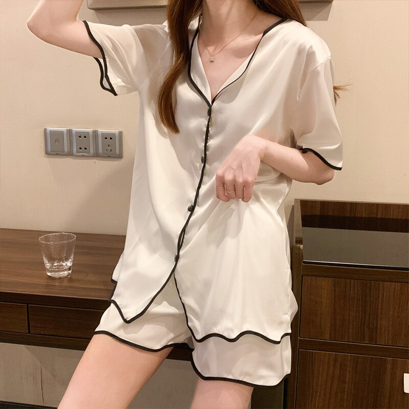 Summer Pajamas Thin Ice Silk Short Sleeved Korean Cardigan Short Sleeved  Women's 2021 New Home Clot