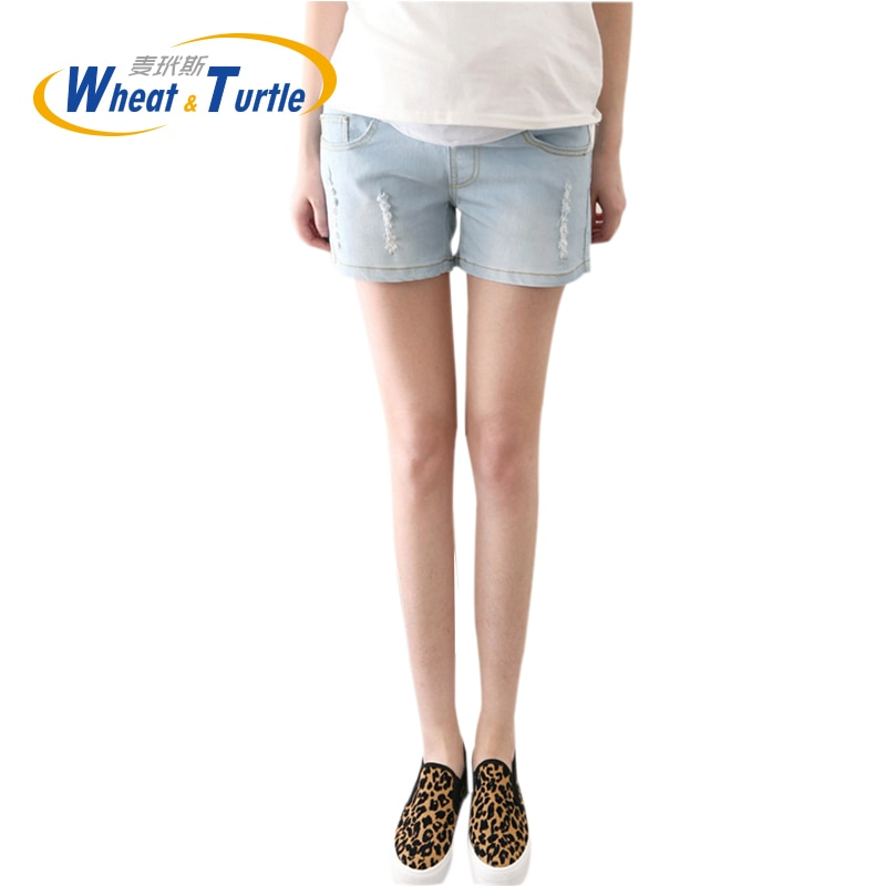 2020 Hot Sale Fashion Maternity Summer Denim Short Jeans Scratched And Pocket Decorated Pants For Pregnant Women